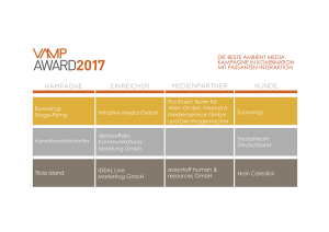VAMP Award 2017 - Die beste Ambient Media Kampagne in Kombination mit Passanten-Interaktion