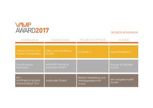 VAMP Award 2017 - Die beste Roadshow