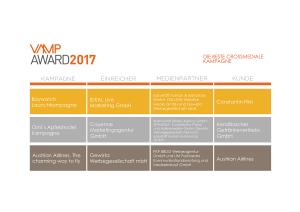 VAMP Award 2017 - Die beste crossmediale Kampagne