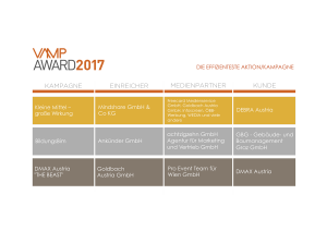 VAMP Award 2017 - Die effizienteste Aktion/Kampagne